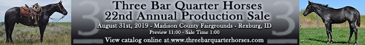 Munns Three Bar Quarter Horses 22nd Annual Sale - August 31st, 2019