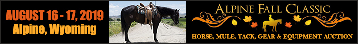 Alpine Fall Classic Horse, Mule, Tack and Equipment Auction - August 16 - 17, 2019