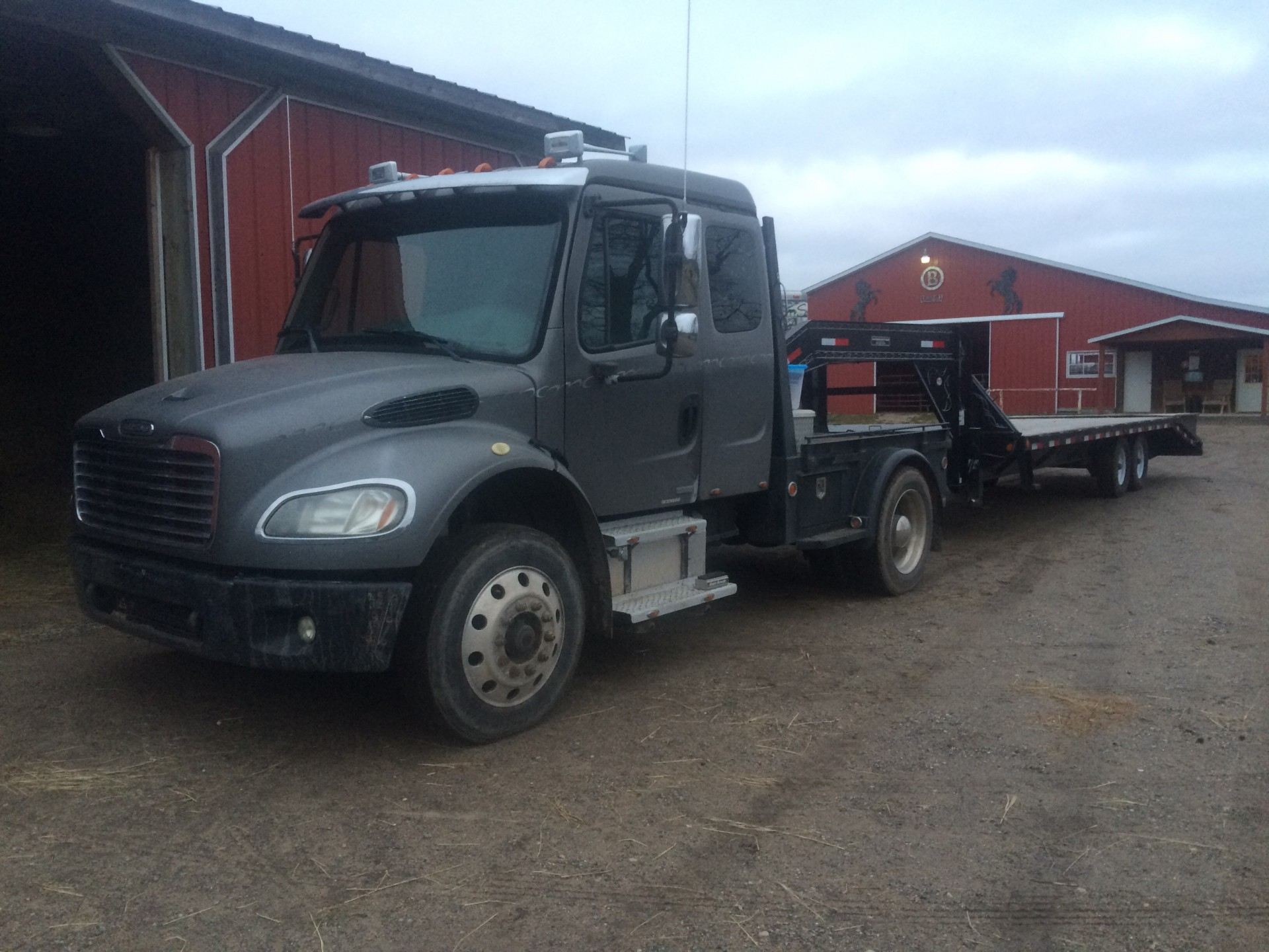 2004 Freightliner M2 Business Class, ext  cab, flatbed, cat