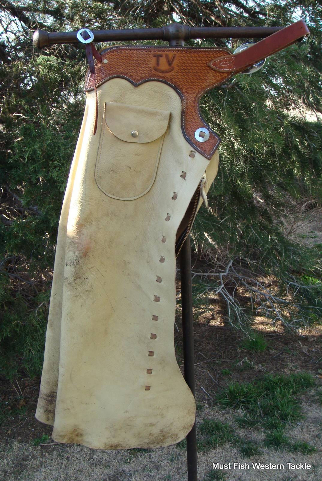 Trucks For Sale In Kansas >> Used Handmade BAKER BOOT CO Leather Shot Gun Cowboy Chaps with Tooled Yokes