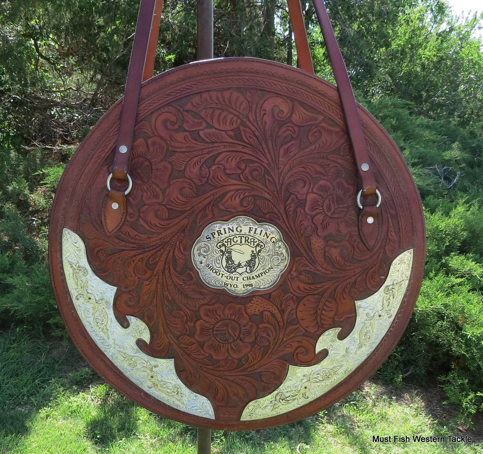 Handmade Actra Team Roping Leather Wyoming Champion Trophy